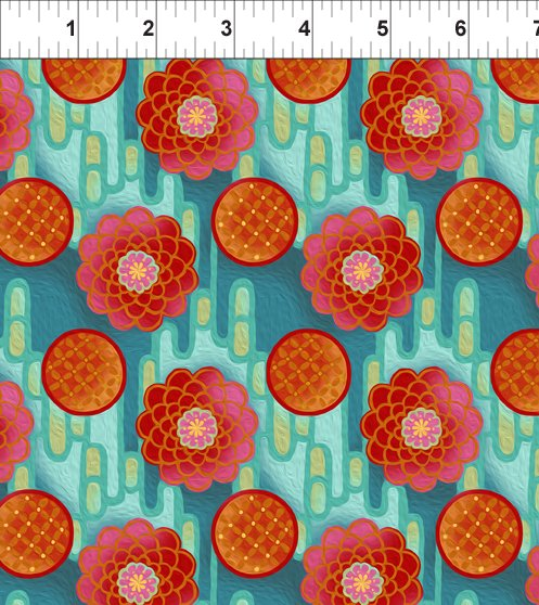 Pastiche - Zinnia - red/teal