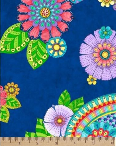 Night Bright 77603 436 Floral on Blue