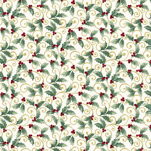 Winter Elegance - Holly Scroll on Natural 833M-09