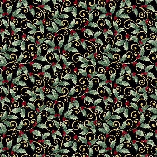 Winter Elegance - Holly Scroll on Black 833M-12