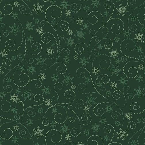 Winter Elegance - Swirling Frost on Green 836-44