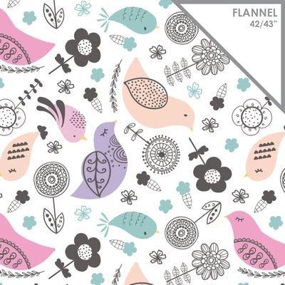 Birds Flannel Blush