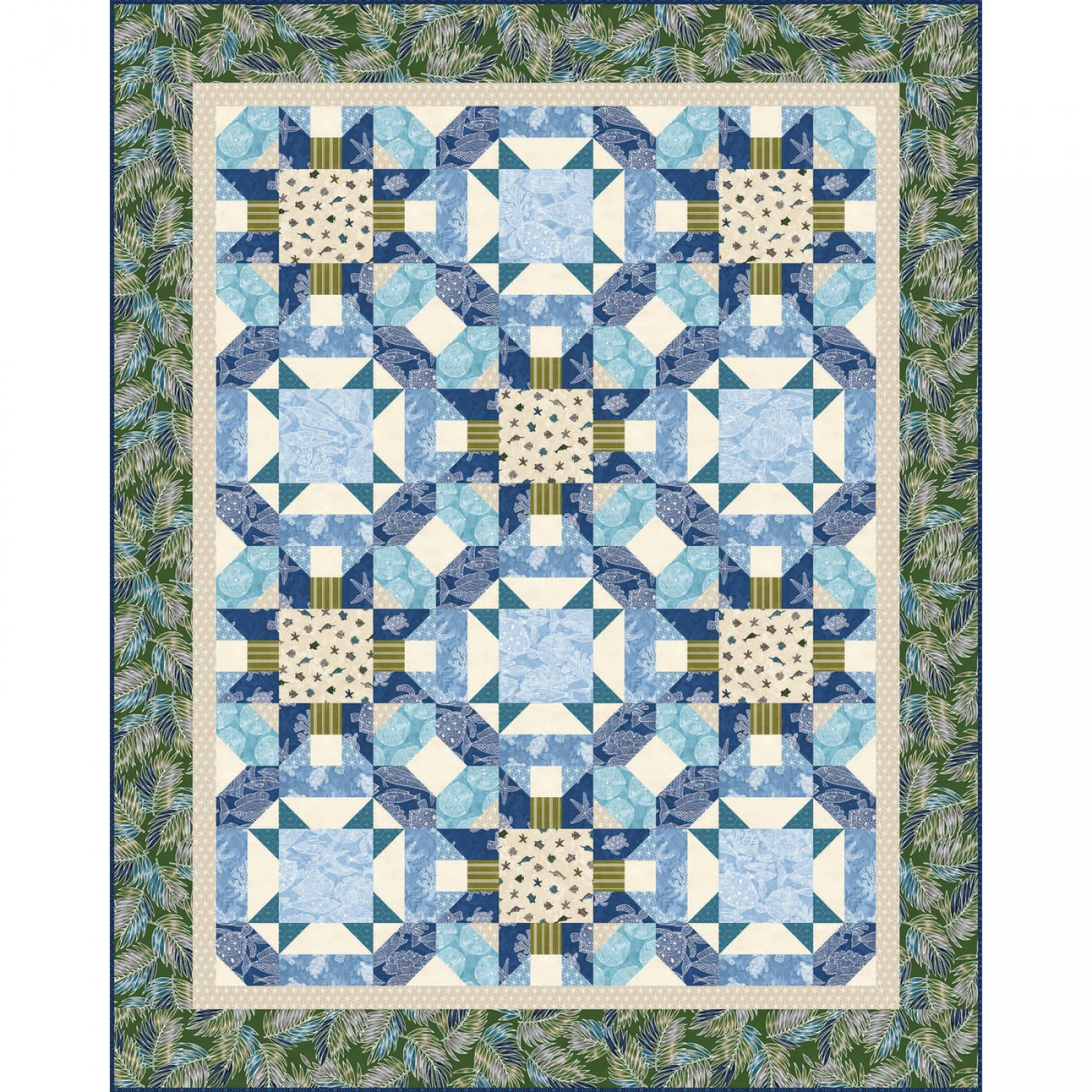 Turtle Beach Quilt Kit - Turtle Bay fabric collection