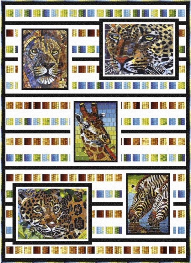 Wild Beasts Mosaic Stripes Quilt Kit