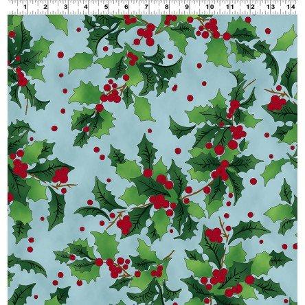 Retro Santa - Holly on blue