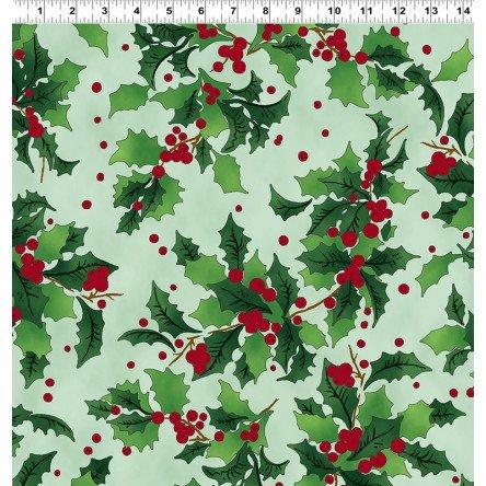 Retro Santa - Holly on green