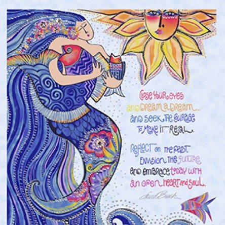 Sea Goddess by Laurel Burch Panel Periwinkle