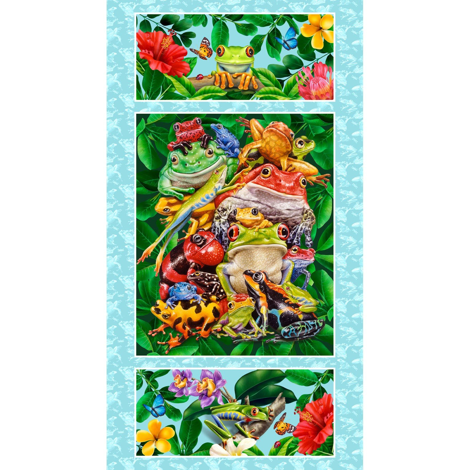 Jewels of the Jungle - Frog Panel on Cerulean 5567P-17