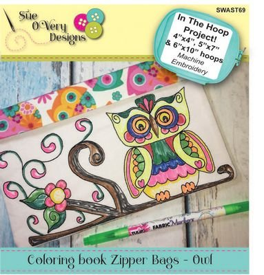 Coloring Book Zipper Pouch CD - In the Hoop - Owl