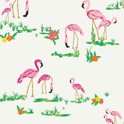Flamingo Field Pearl from West Palm collection by Katie Skoog for Art Gallery Fabrics