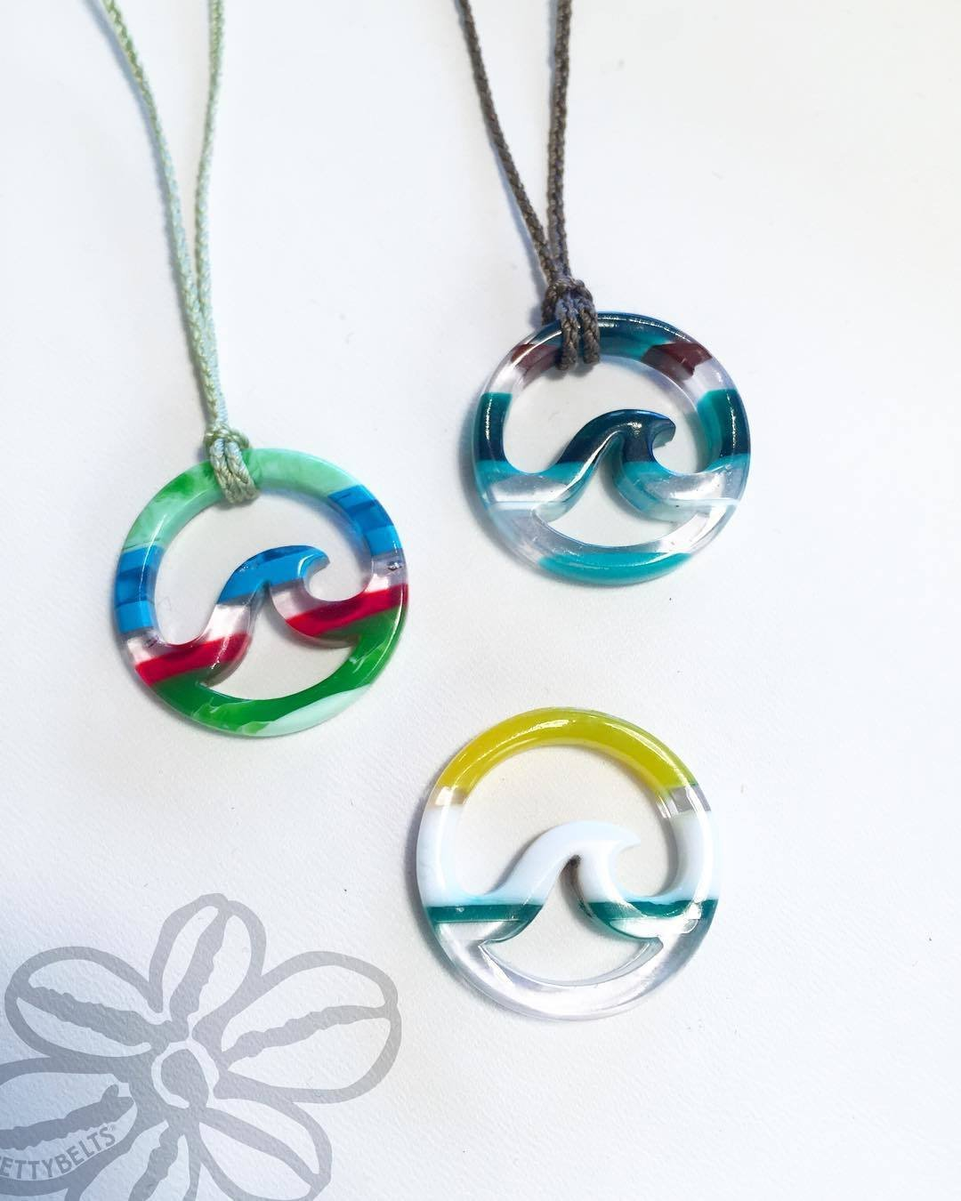 Upcycled Surfite Necklace on Braided Cord