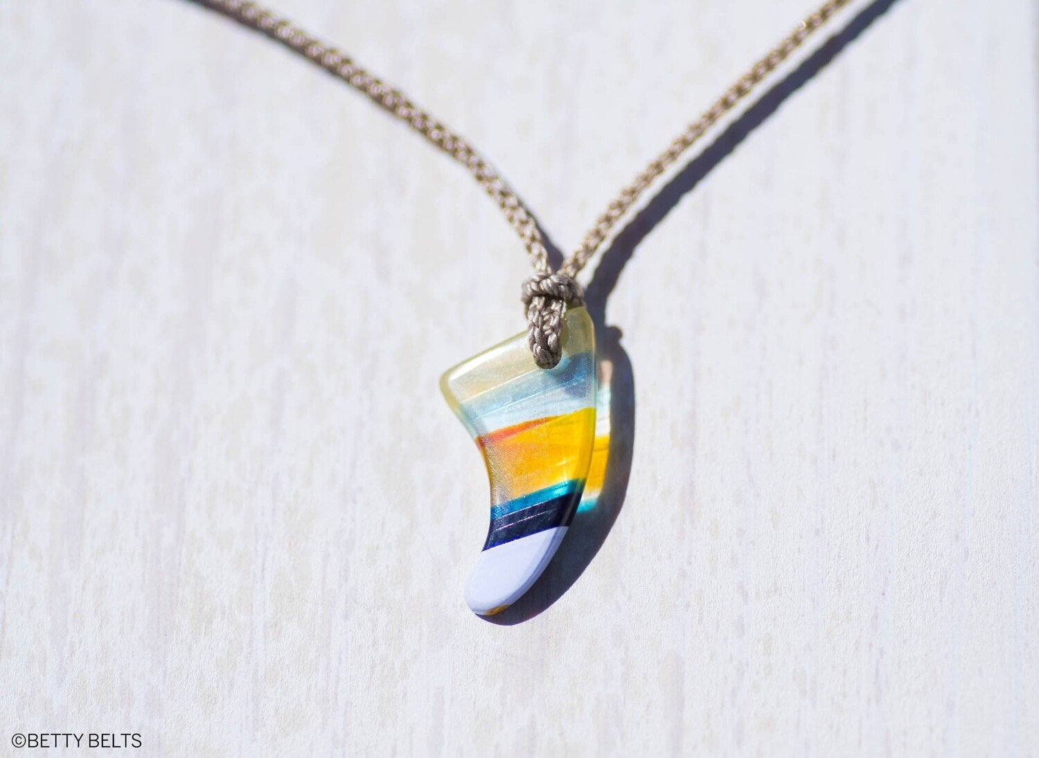Upcycled Surfboard Resin Fin Charm on Braided Cord Necklace