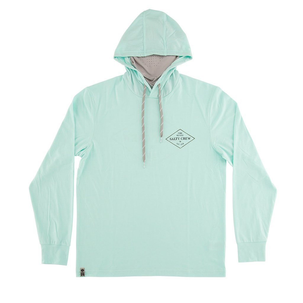 Salty Crew Four Corners Tech Hooded Long Sleeve Shirt with Mask in Aqua