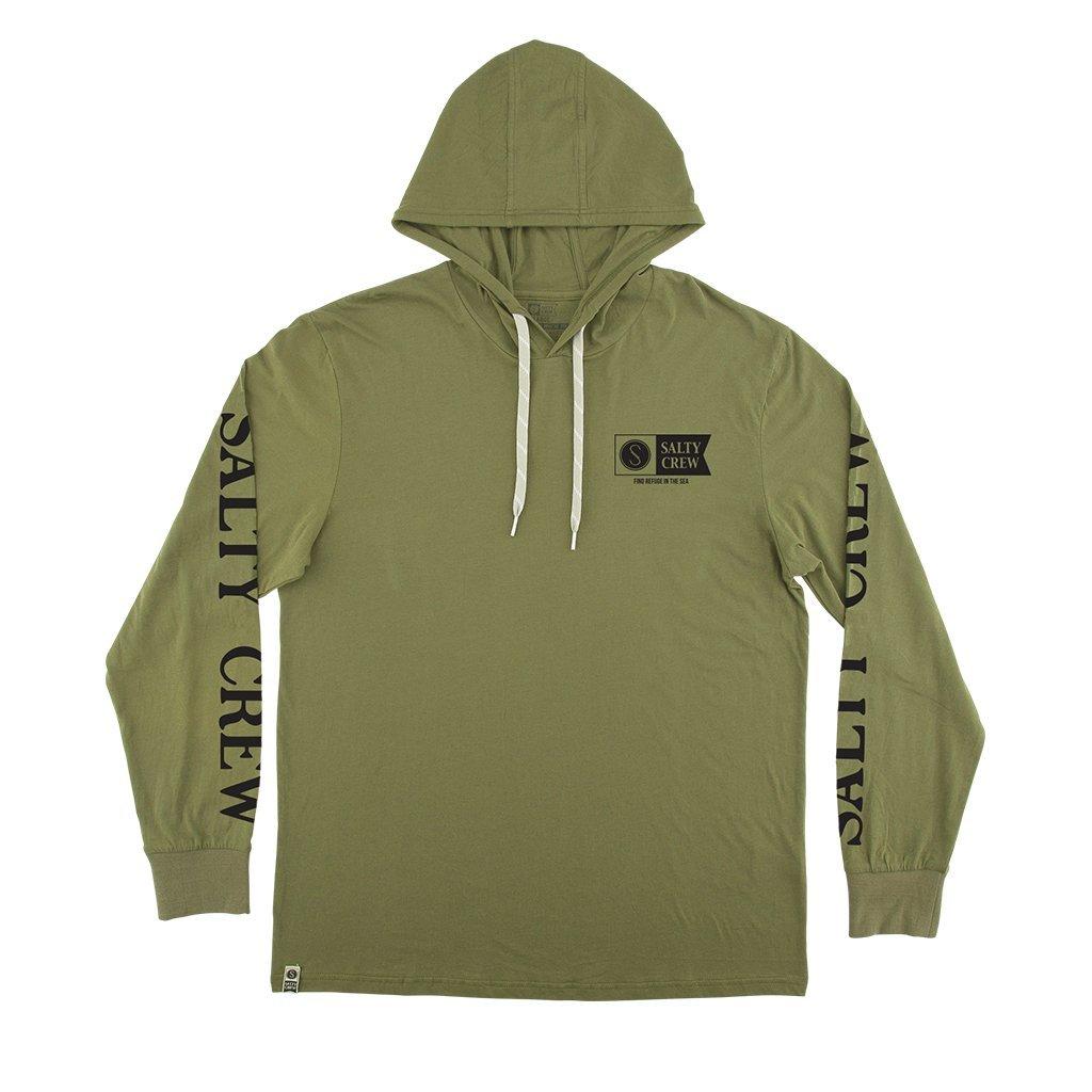 Salty Crew Alpha Refuge Tech Hooded Long Sleeve Shirt in Green