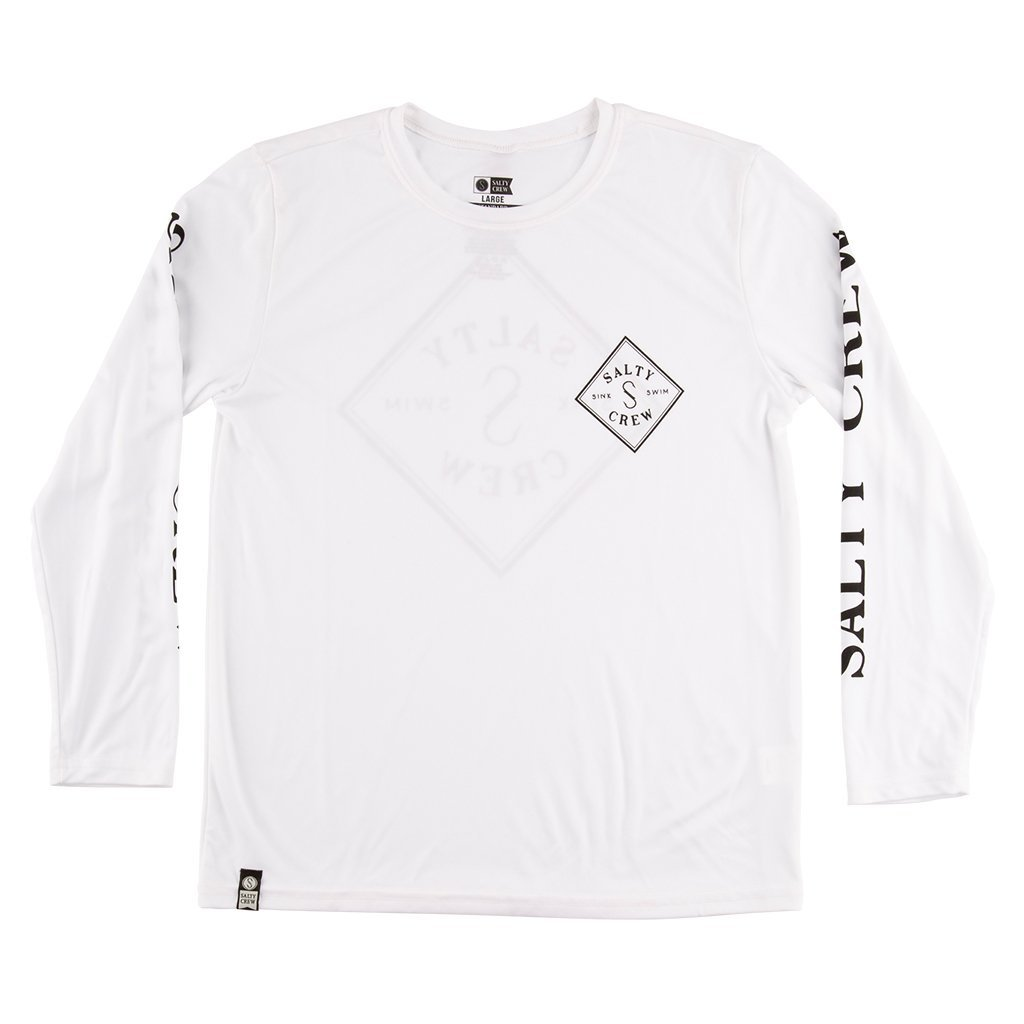 Salty Crew Tippet Boys Long Sleeve Tech Tee Shirt in White