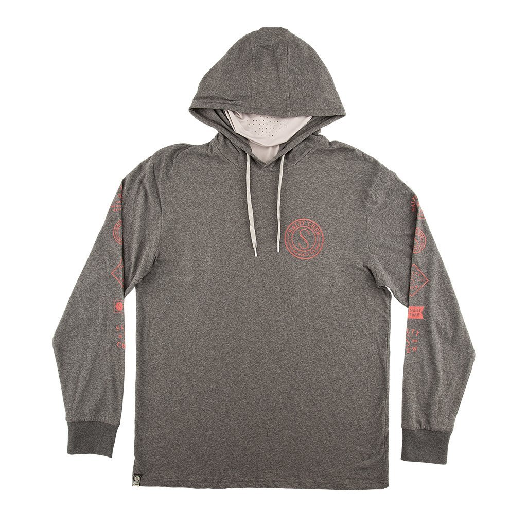 Salty Crew Palomar Tech Hooded Long Sleeve Shirt with Mask in Charcoal Heather
