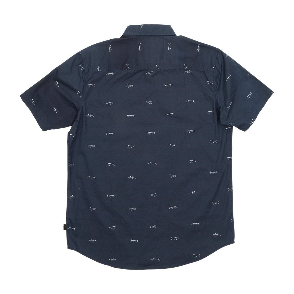 Salty Crew Market Short Sleeve Woven Shirt in Navy