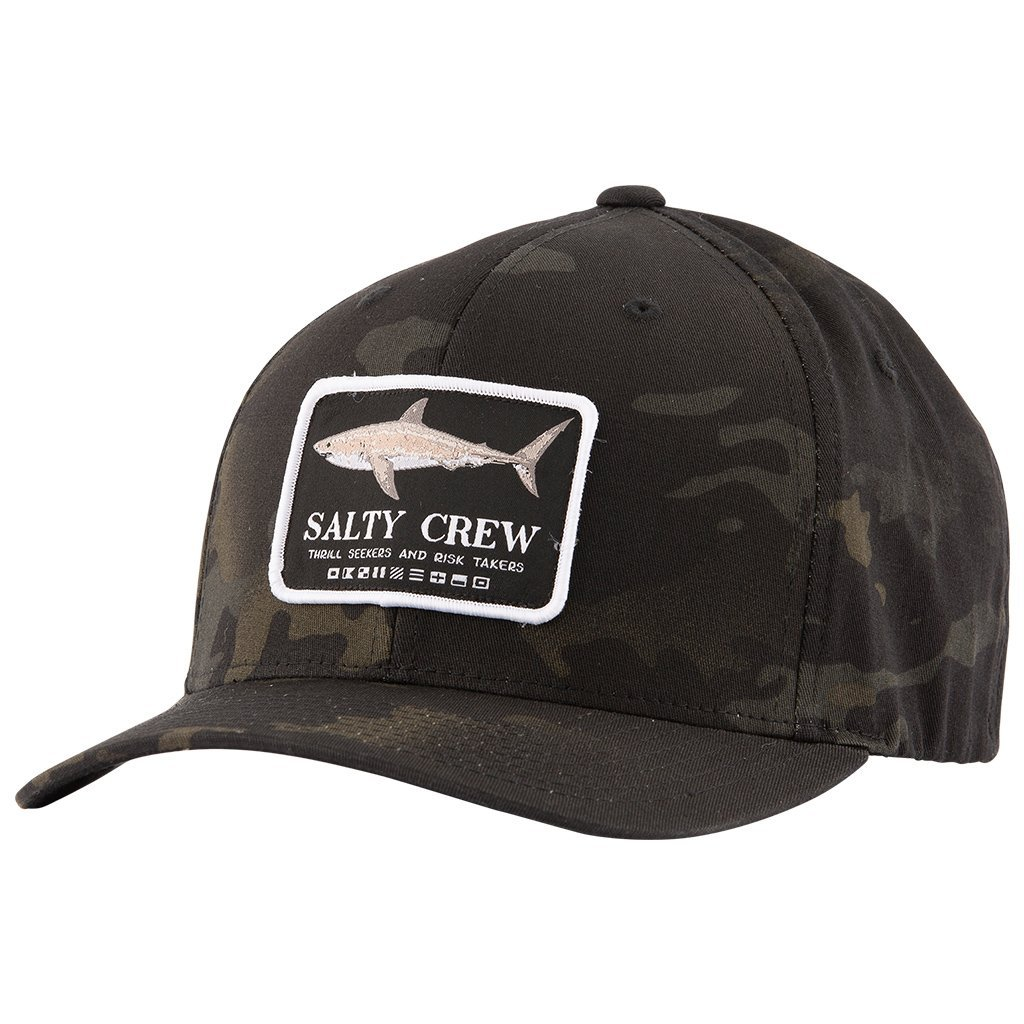 Salty Crew Farallon Six Panel Hat in Multicam Black
