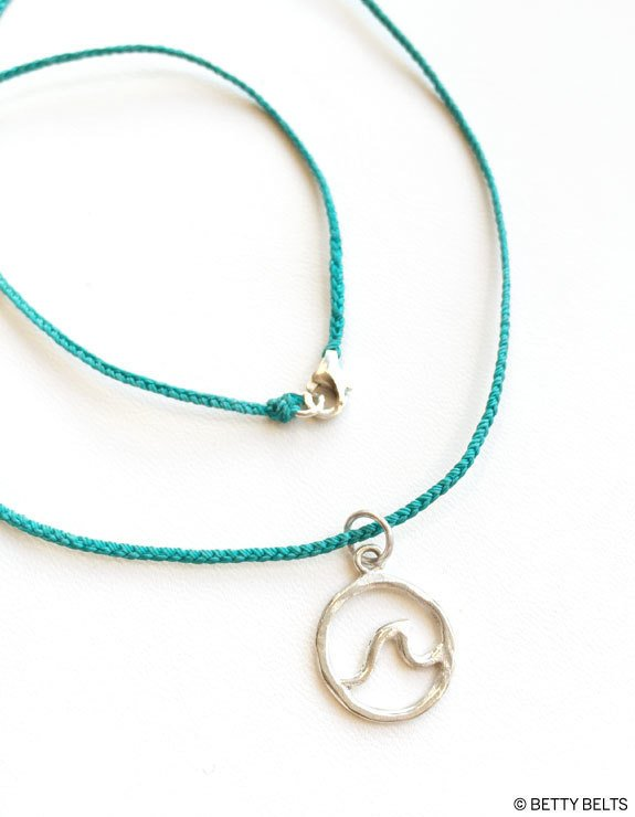 Circle Wave Necklace on Braided Cord