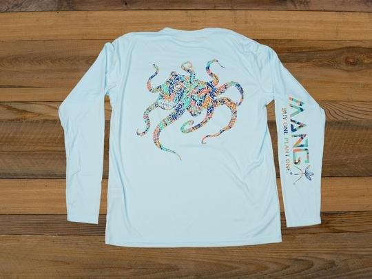 MANG Coral Restoration Octamang Performance Long Sleeve Shirt UPF 50 in Arctic Blue