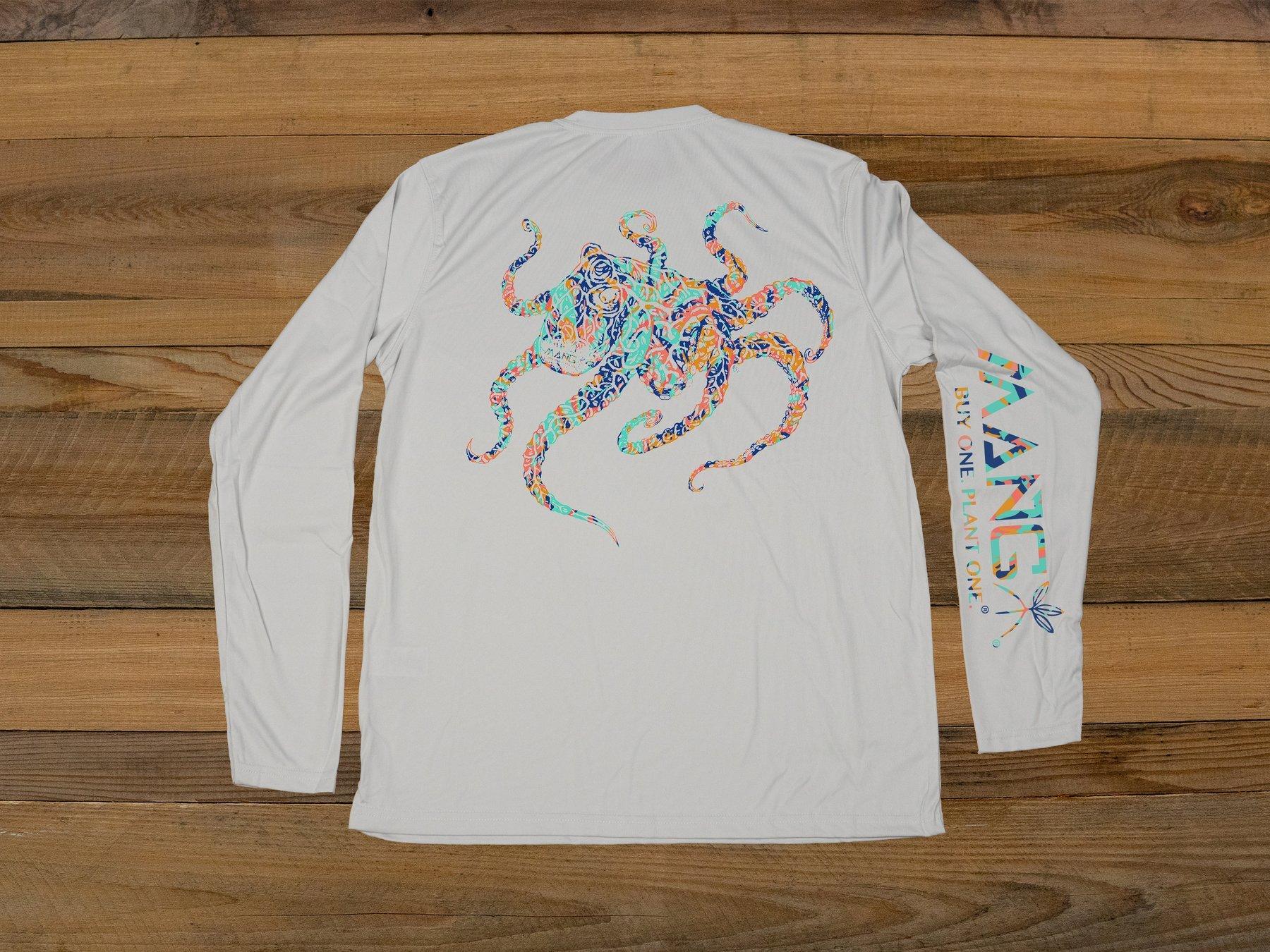 MANG Coral Restoration Octamang Performance Long Sleeve Shirt UPF 50 in Pearl Grey