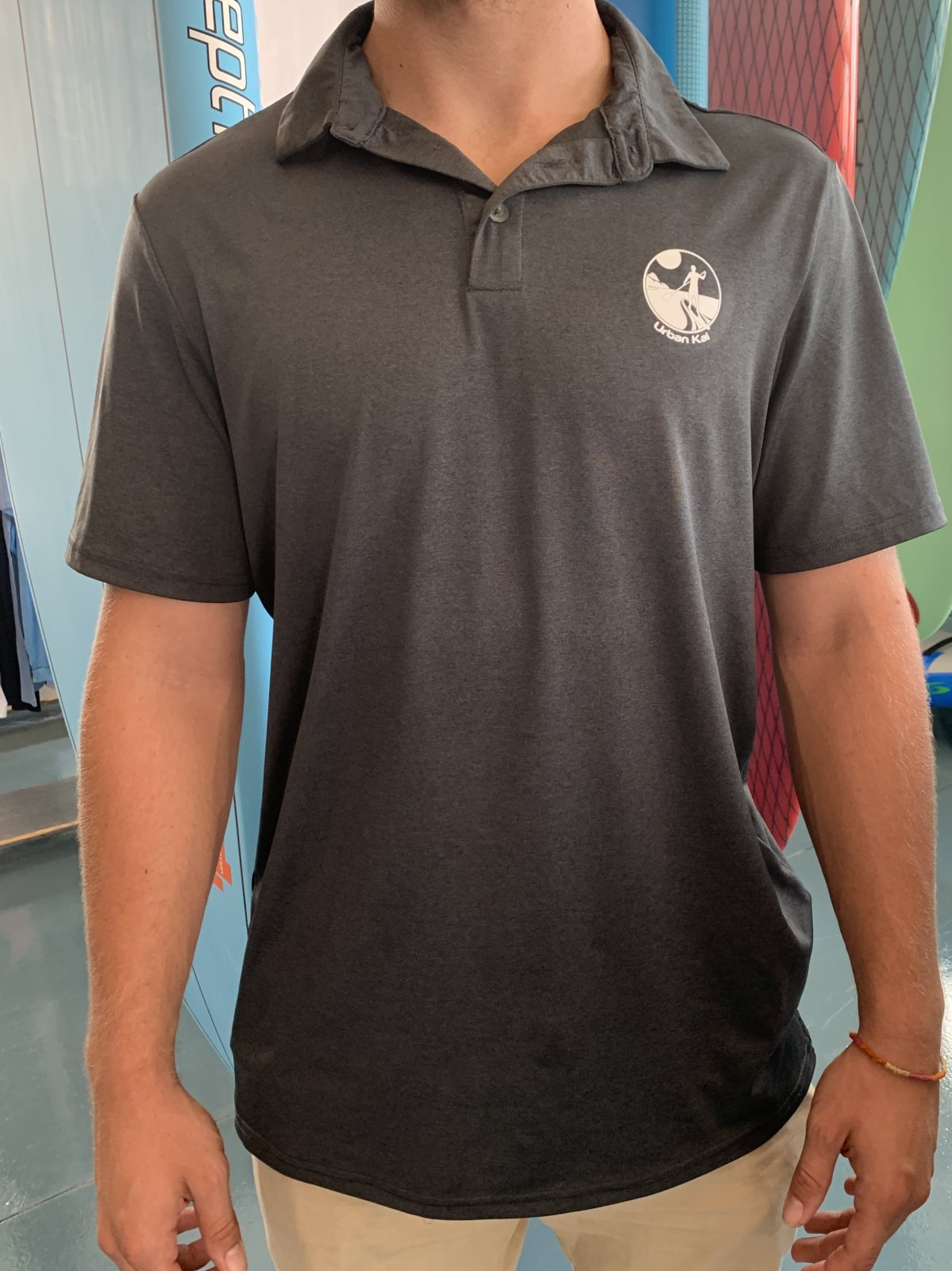 UK Short Sleeve Polo Sun Shirt in Charcoal