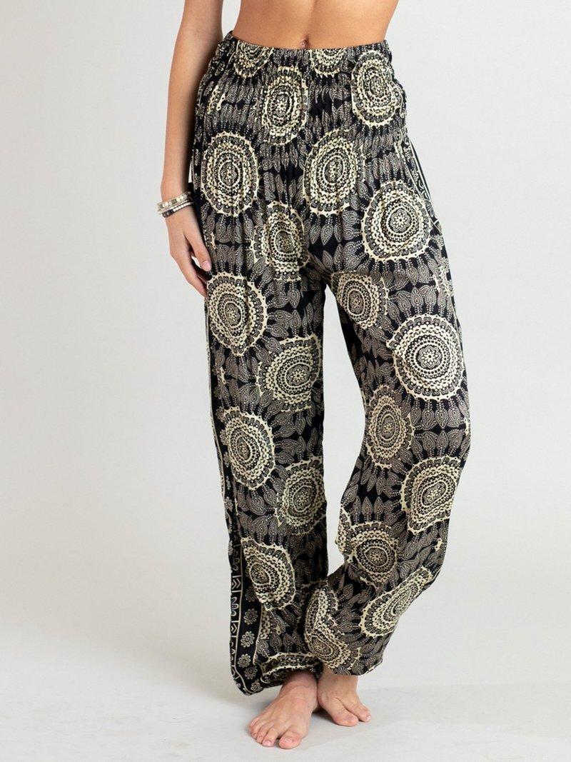 Lotus & Luna Pants - Black & Cream Wide