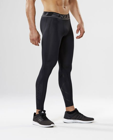 2XU Men's Accelerate Compression Tights in Black/Silver