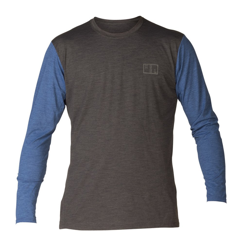 Xcel Men's Robert VentX UV L/S Shirt in Heather Black/Blue