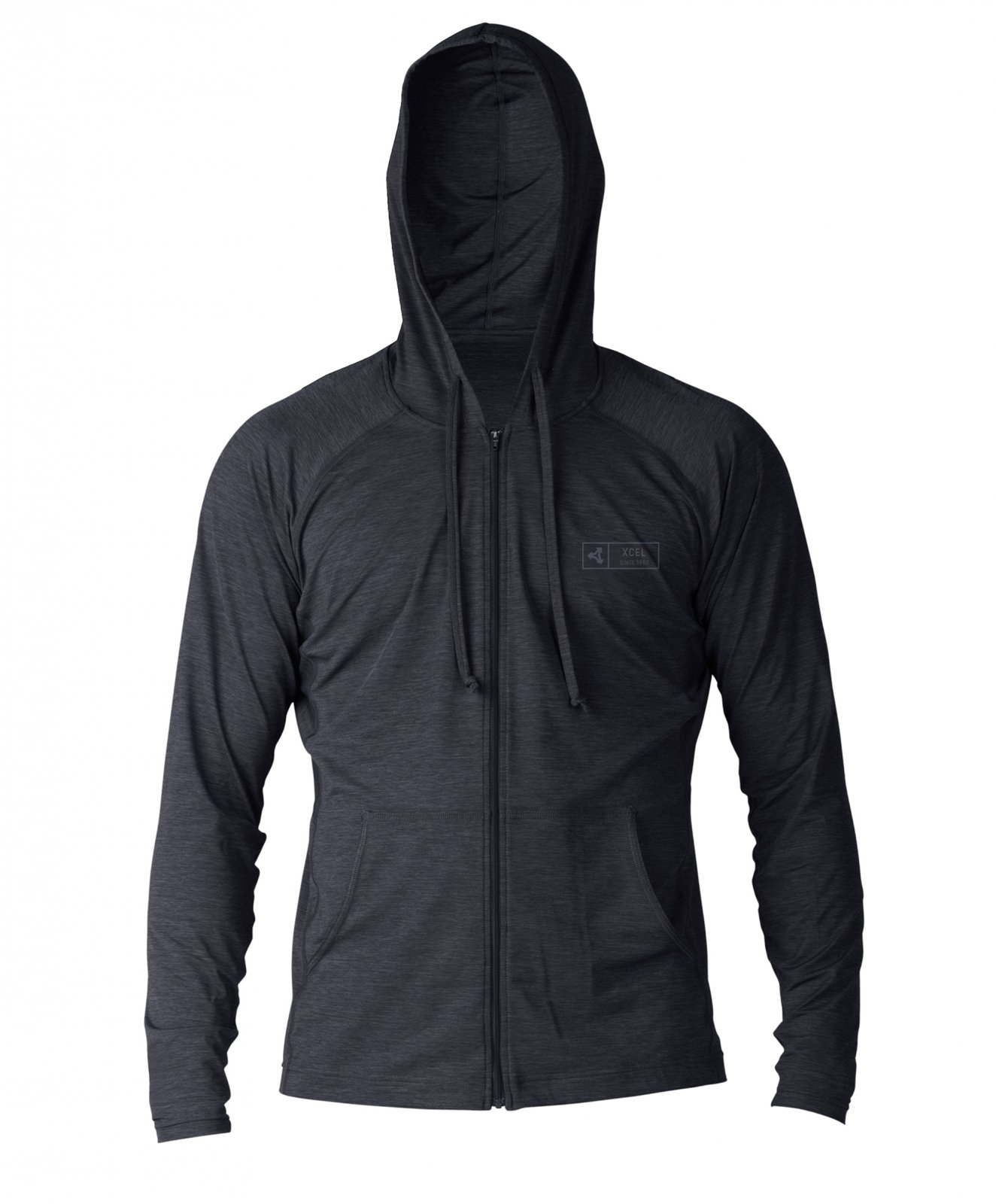 Xcel Men's Ventx Front Zip Hoodie SP19 in Heathered Black