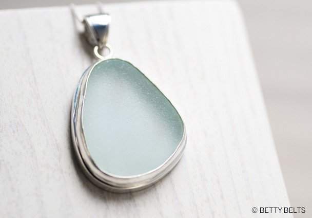 Sea Glass Pendant Necklace on Sterling Silver Chain