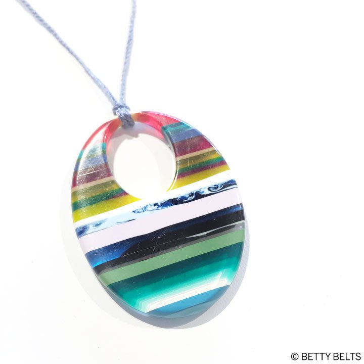 Upcycled Surfite Orb Pendant Necklace on 30 Hand-Braided Cord