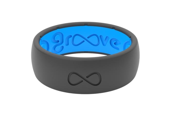 Groove Edge Deep Stone Grey Men's Silicone Ring