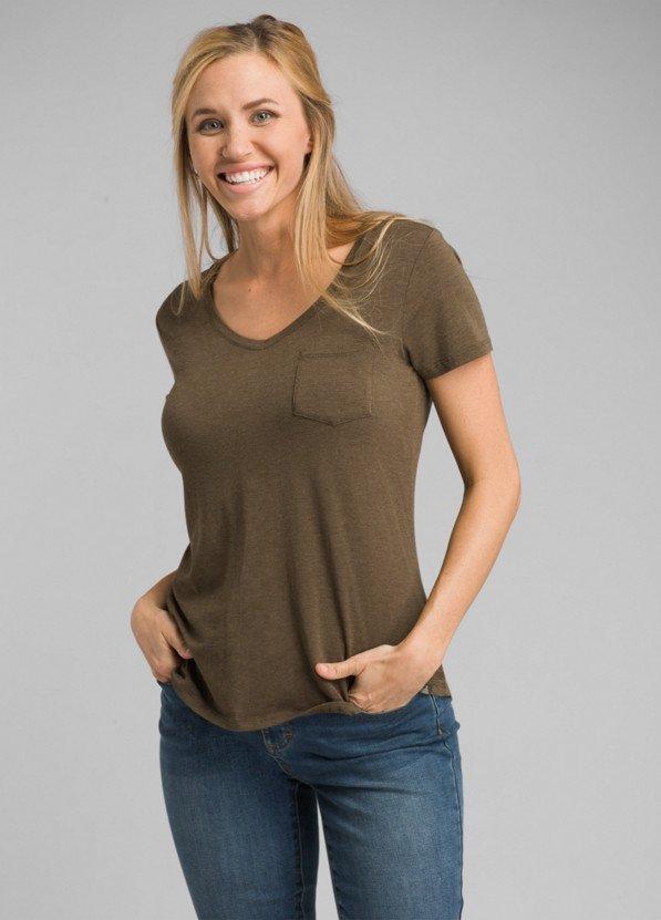 PrAna Foundation Short Sleeve V-Neck in Slate Heather