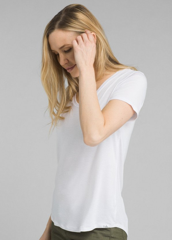 PrAna Foundation Short Sleeve V-Neck in White