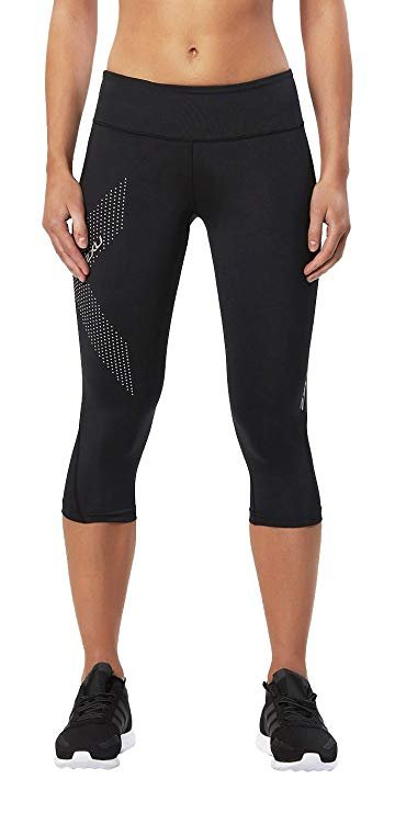 2XU Women's Mid-Rise Compression 3/4 Tights in Black Dotted Reflective Logo