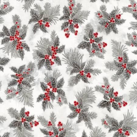 Holiday Flourish Silver Metallic Holly Leaves on white
