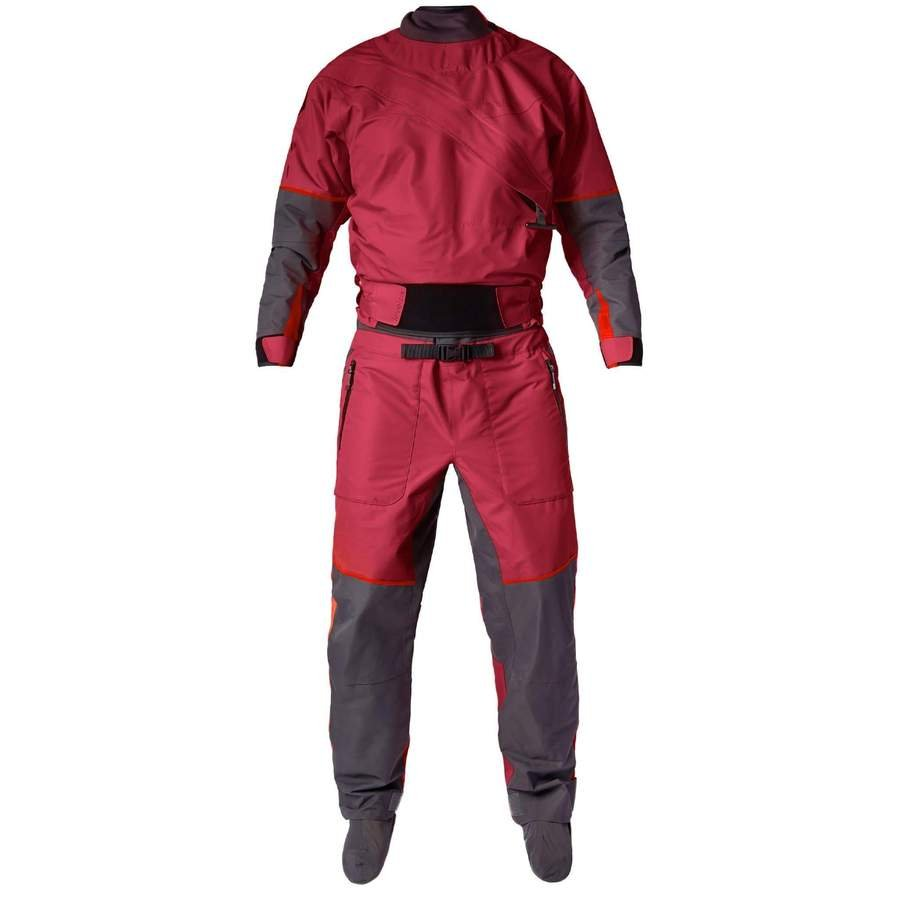 Level Six Freya Women's front Entry Dry Suit - Beet Red/ back relief zipper