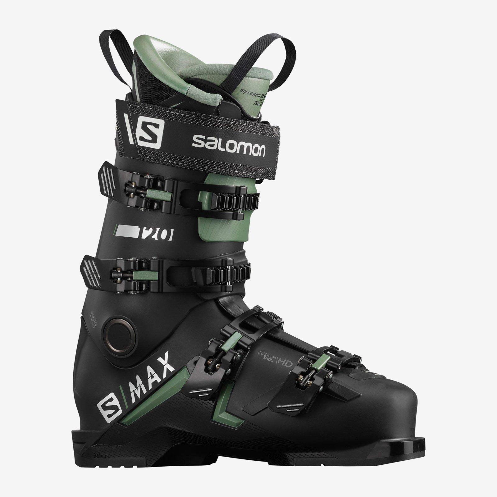 Salomon S/MAX 120 Ski Boots - Black/Oil Green/Silver