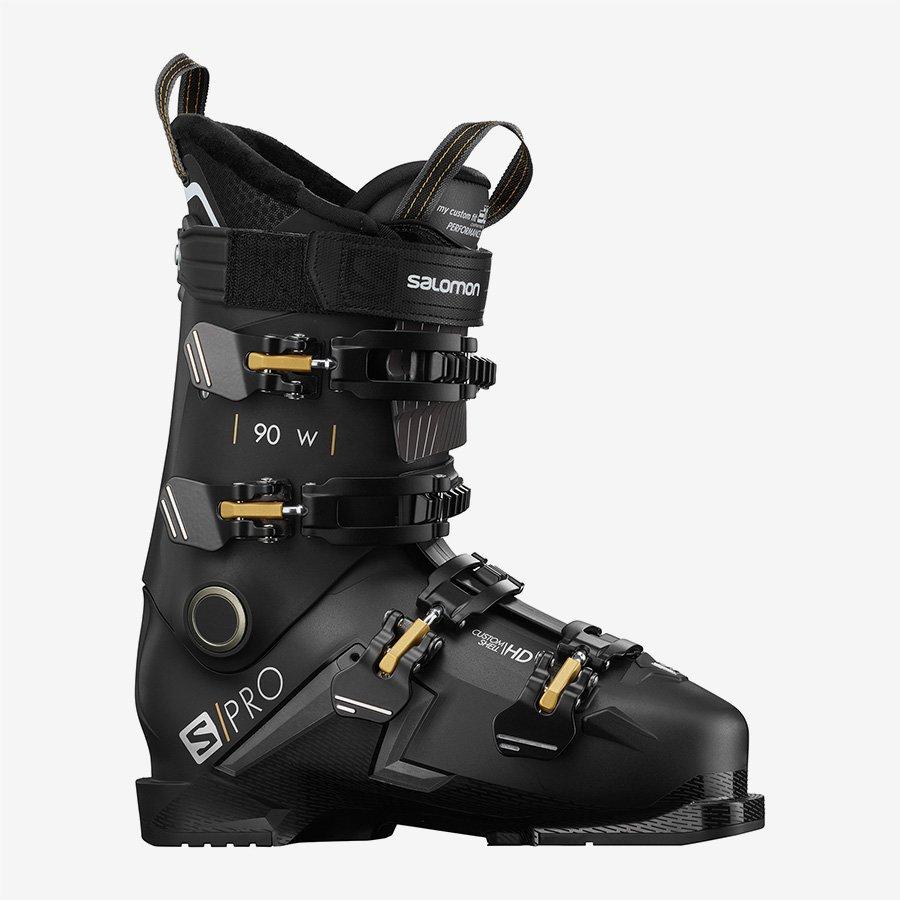 Salomon S/PRO 90 Women's Ski Boots - Black/Belluga/Golden Glow