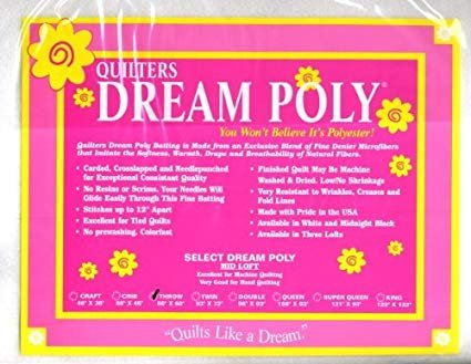 Quilters Dream Poly White Batting; Deluxe King 120 x 122