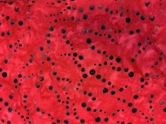 Cantik Rayon Batik Pollen Red-Blk Polka Dots