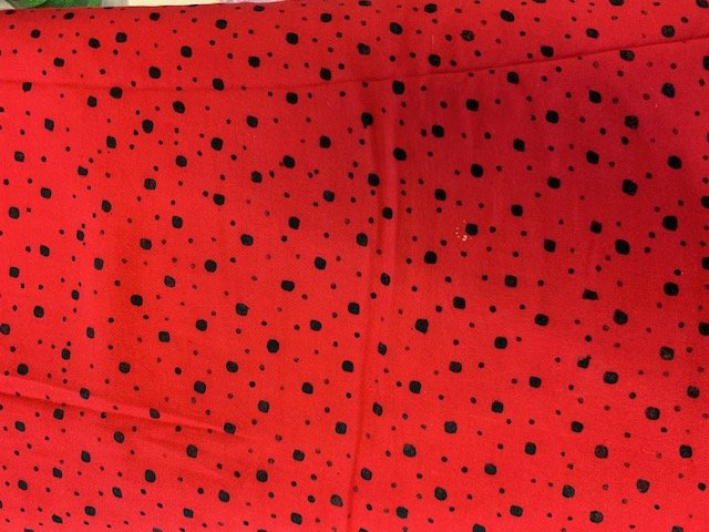 Batik by Mirah Rayon-Red with black dots