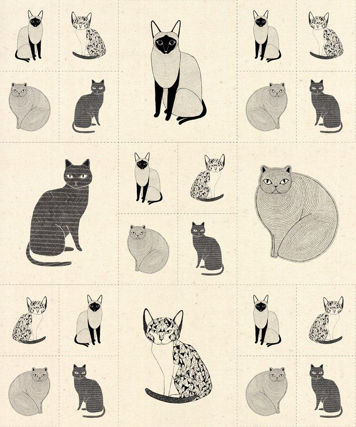 CATNIP - 1 YARD CATS GALORE PANEL - NATURAL - 48231 12
