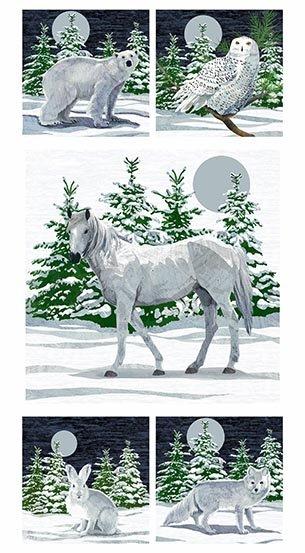 WINTER MOONS - 24 SINGLE PANEL - WINTER ANIMALS - DIGITAL PRINT - AD-8516-C