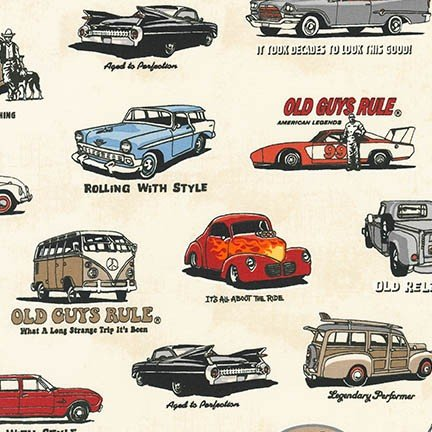 OLD GUYS RULE - CLASSIC CARS - IVORY - AOD 16698-15