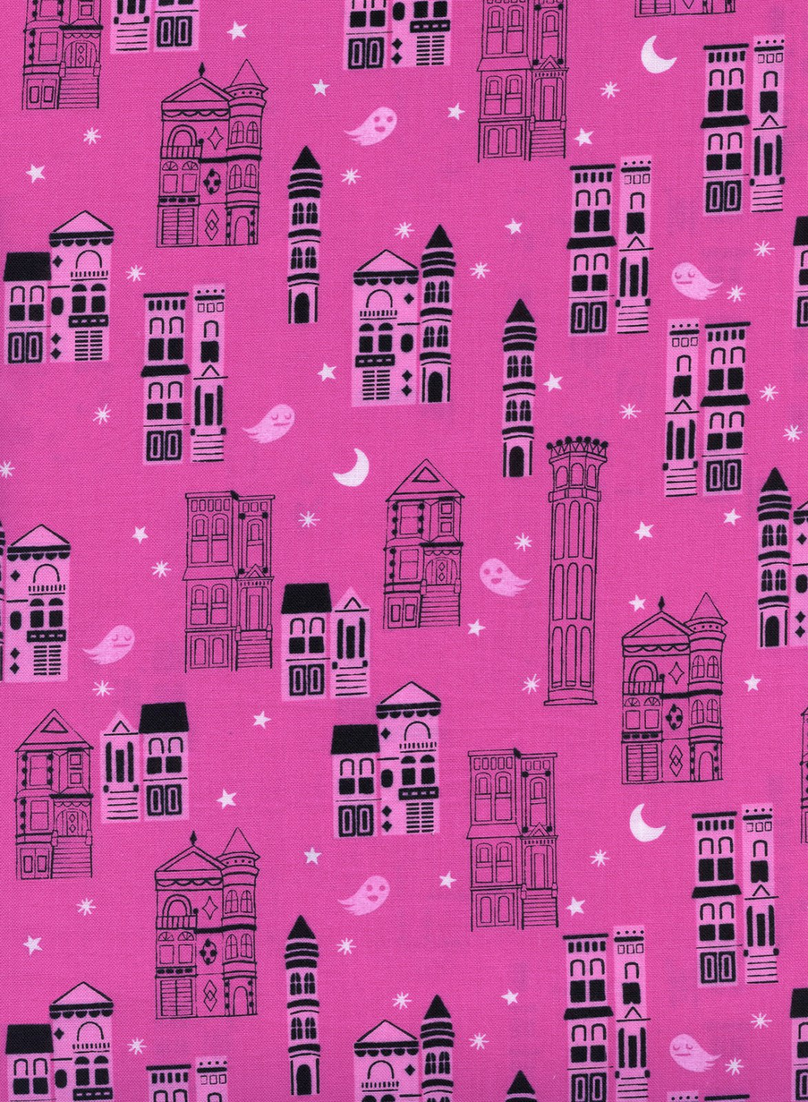 COTTON + STEEL - ECLIPSE -  HAUNTED CITY - PINK - 5193 002