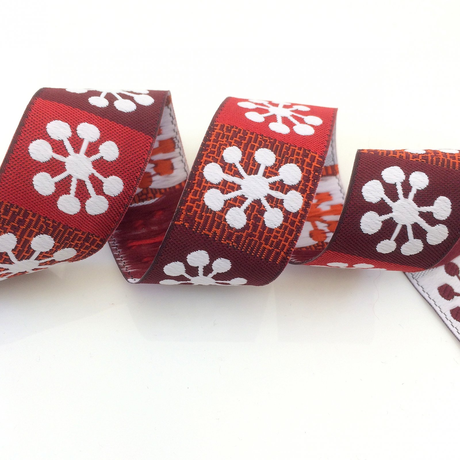 RENAISSANCE RIBBONS - BIG SNOWFLAKES 22MM - GRAY