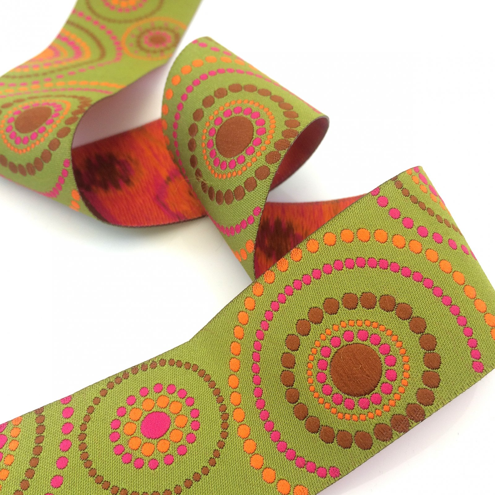 RENAISSANCE RIBBONS - GREEN/ORANGE CONCENTRIC CIRCLES 1.5 IN