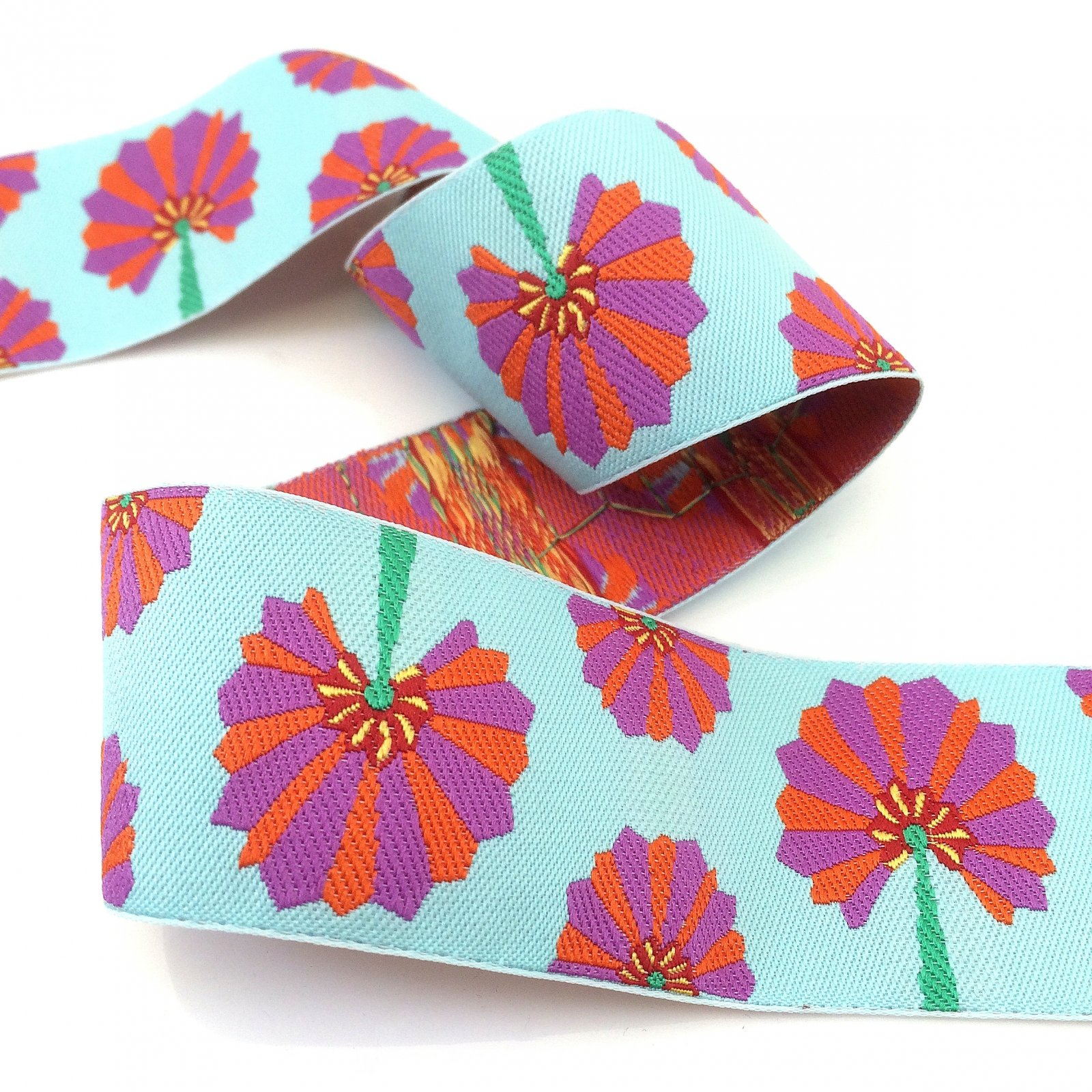RENAISSANCE RIBBONS - KAFFE FASSETT ORANGE/PURPLE PALM FAN - AQUA